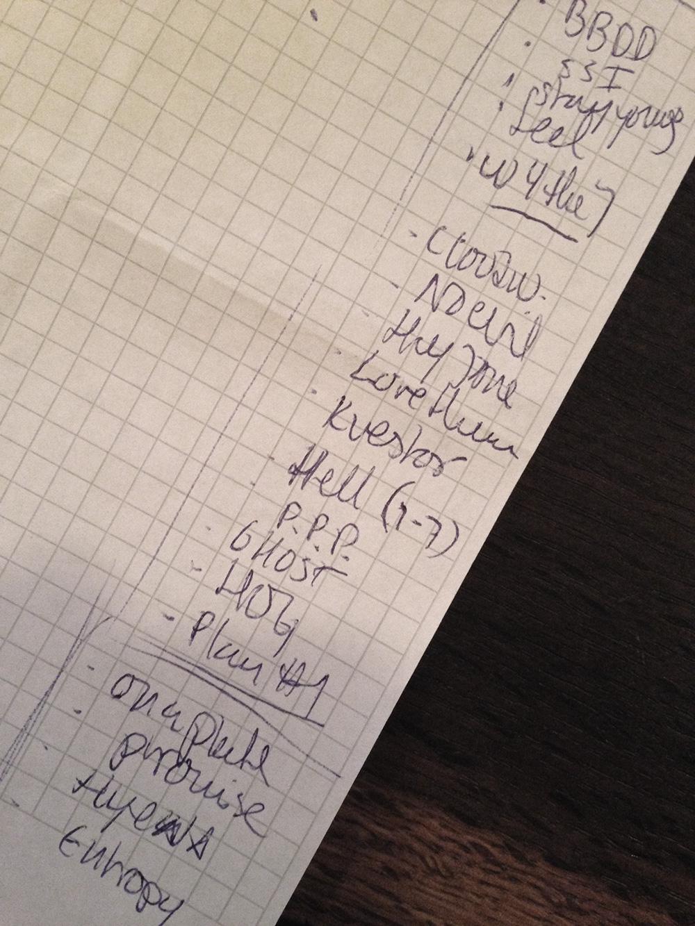 Setlist Bergen 2014